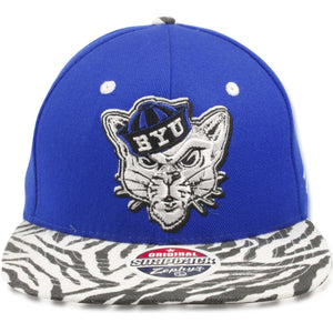 Brigham Young University Cougars Blue on Zebra Print Snapback Hat