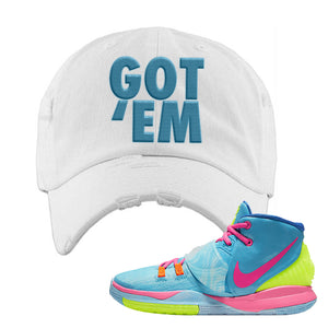 Kyrie 6 Pool Distressed Dad Hat | White, Got Em