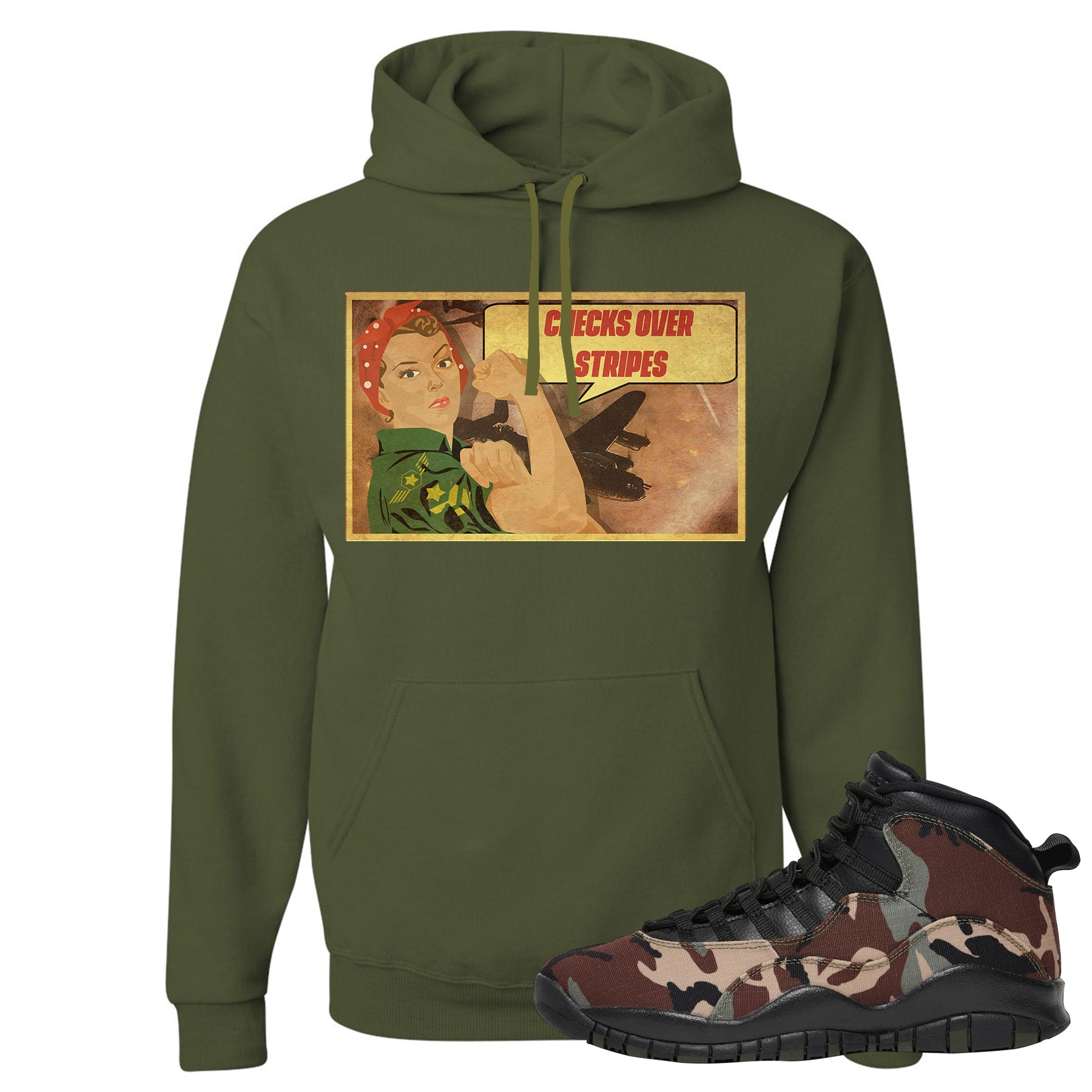 new arrival 5ec25 663fb Jordan 10 Woodland Camo Sneaker Matching Vintage Girl Military Green  Pullover Hoodie