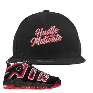Air More Uptempo Laser Crimson Snapback Hat | Black, Hustle & Motivate