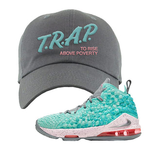 Lebron 17 South Beach Dad Hat | Trap to Rise Above Poverty, Light Gray