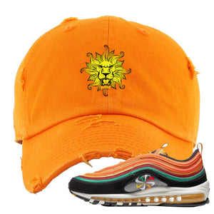 Embroidered on the front of the Air Max 97 Sunburst orange distressed sneaker matching dad hat is the vintage lion head logo