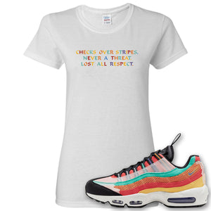 Air Max 95 Black History Month Sneaker White Women's T Shirt | Women's Tees to match Nike Air Max 95 Black History Month Shoes | Checks Over Stripes