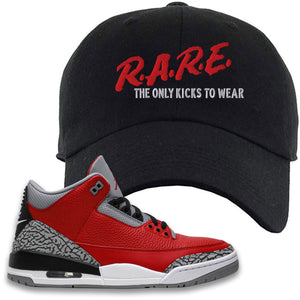 Jordan 3 Red Cement Dad Hat | Black, Rare