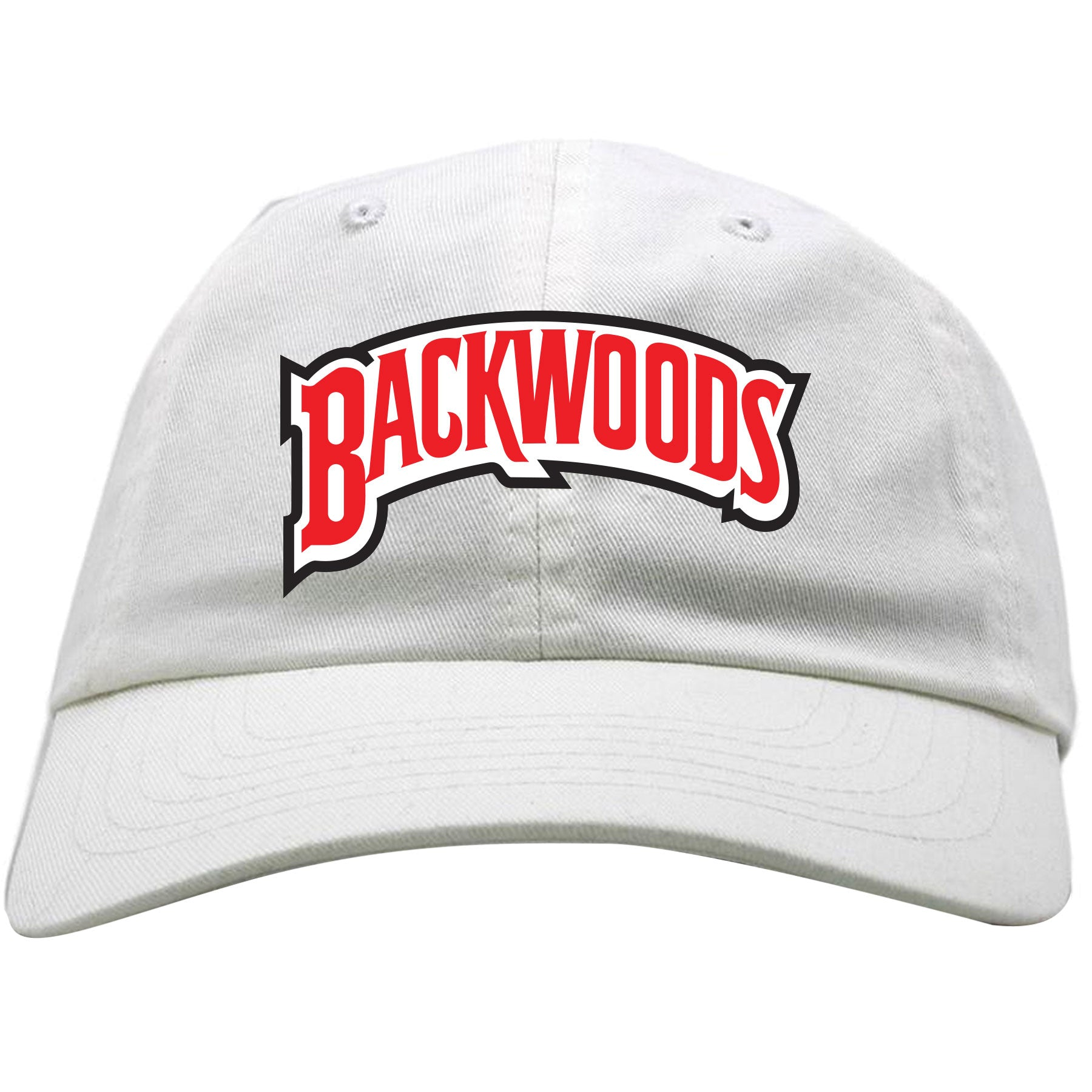 0f6e1c3f0cd Embroidered on the front of the white Backwoods Russian Cream adjustable dad  hat is the Backwoods