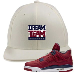 Jordan 4 FIBA Dream Team White Sneaker Matching Snapback Hat