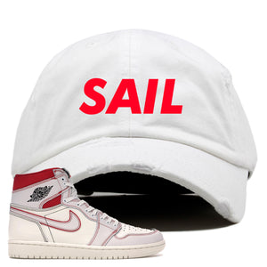 White and red hat to match the High Retro Jordan 1 shoe