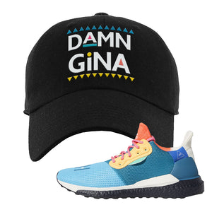 Foot Clan  Pharrel Williams X SolarHU Multicolor  Damn Gina  Black  Dad Hat    Match your shoes with this Pharrel Williams X SolarHU Multicolor Sneaker Black Dad Hat. The Damn Gina logo on the front of this Pharrel Williams X SolarHU Multicolor Sneaker Black Dad Hat is perfect to match these kicks. Up your match-game now!