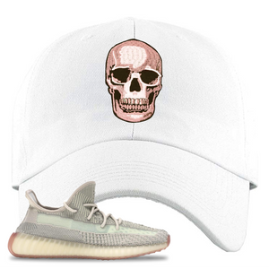 Yeezy Boost 350 V2 Citrin Non-Reflective Skull White Sneaker Matching Dad Hat