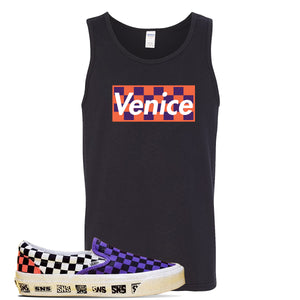 Vans Slip On Venice Beach Pack Tank Top | Black, Checkerboard Box