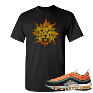 Printed on the front of the Air Max 97 Sunburst black sneaker matching tee shirt is the Vintage Lion Head logo