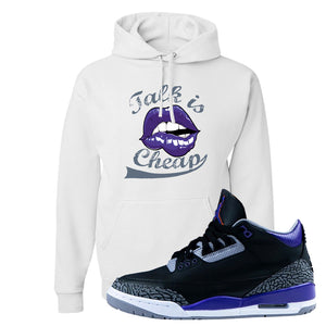 Air Jordan 3 Court Purple Hoodie | Talk Is Cheap, White