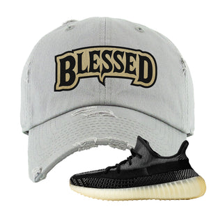 Yeezy Boost 350 v2 Carbon Distressed Dad Hat | Blessed Arch, Light Gray