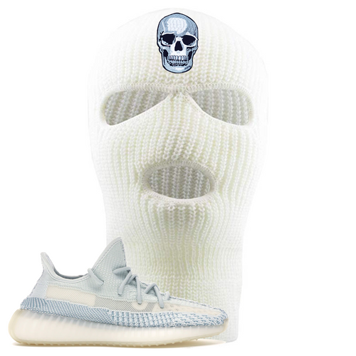 Yeezy Boost 350 V2 Cloud White Non-Reflective Skull Sneaker Matching White Ski Mask