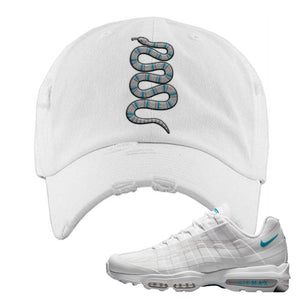Air Max 95 Ultra White Glacier Blue Distressed Dad Hat | Coiled Snake, White