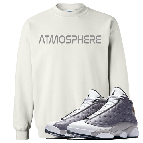 "Jordan 13 Atmosphere Grey ""Atmosphere"" White Crewneck"