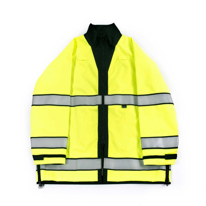 the Police Firemen | Hi Vis Reversible Reflective Rain Coat | Black and Bright Yellow Waterproof Rain Jacket for Policewoman Firewoman has gray stripes and black trim it can be a black jacket also