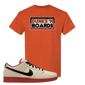 SB Dunk Low Muslin T Shirt | Dunks N Board, Antique Orange
