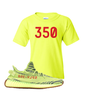 350 Safety Green Kid's T-Shirt to match Yeezy Boost 350 V2 Frozen Yellow Sneaker