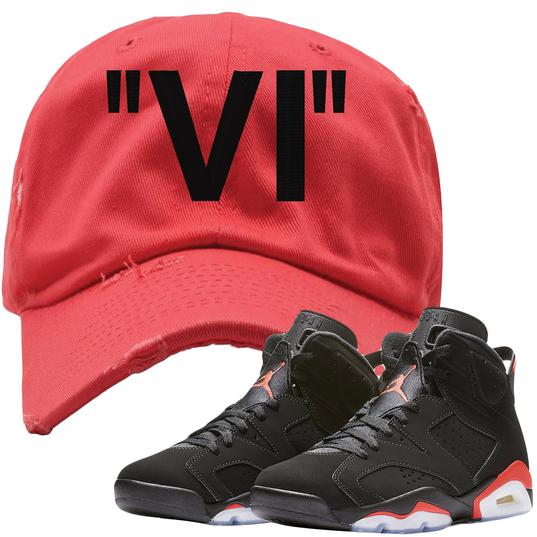 ac7522079260d The Jordan 6 Infrared Distressed Dad Hat is custom designed to perfectly  match the retro Jordan