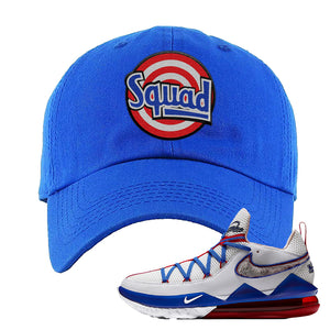LeBron 17 Low Tune Squad Sneaker Royal Blue Dad Hat | Hat to match Nike LeBron 17 Low Tune Squad Shoes | Squad
