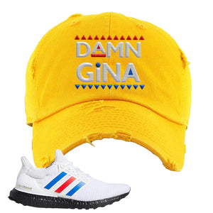 Ultra Boost White Red Blue Distressed Dad Hat | Gold, Damn Gina