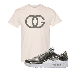 Air Max 90 WMNS 'Medal Pack' Chrome Sneaker Natural T Shirt | Tees to match Nike Air Max 90 WMNS 'Medal Pack' Chrome Shoes | OG