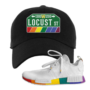 NMD R1 Pride Dad Hat | Black, Locust Street Sign