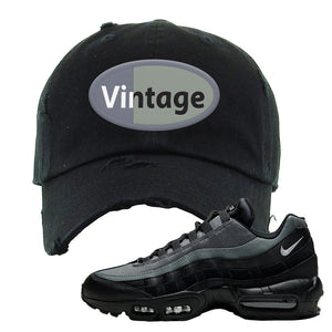 Air Max 95 Black Smoke Grey Distressed Dad Hat | Vintage Oval, Black