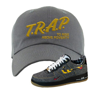 Air Force 1 Low Plaid And Camo Remix Pack Dad Hat | Trap To Rise Above Poverty, Dark Gray
