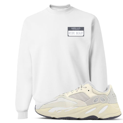Yeezy Boost 700 Analog Sneaker Match Hello My Name Is Hype Beast Pablo White Crewneck Sweater