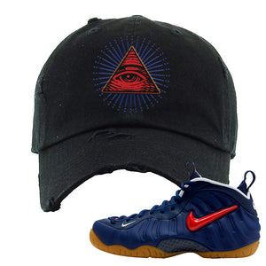 Air Foamposite Pro USA Distressed Dad Hat | Black, All Seeing Eye