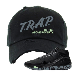 Nike KD 13 Black And Dark Grey Distressed Dad Hat | Trap To Rise Above Poverty, Black