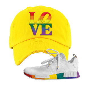 NMD R1 Pride Distressed Dad Hat | Yellow, Love Park