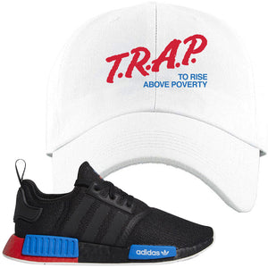 NMD R1 Black Red Boost Matching Dad Hat | Sneaker Dad Hat to match NMD R1s | Trap To Rise Above Poverty, White