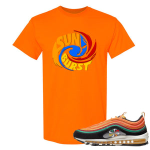 Printed on the front of the Air Max 97 Sunburst safety orange sneaker matching tee shirt is the sunburst hurricane logo
