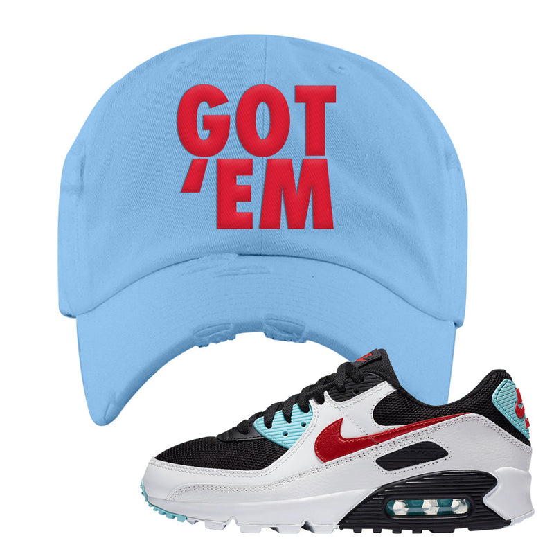 Air Max 90 Bleached Aqua and Chile Red Distressed Dad Hat | Light Blue, Got Em