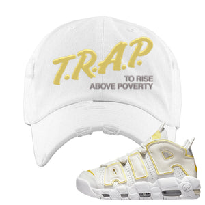 Air More Uptempo Light Citron Distressed Dad Hat | Trap To Rise Above Poverty, White