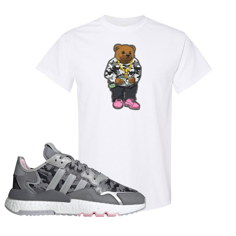 WMNS Nite Jogger True Pink Camo T Shirt | White, Sweater Bear