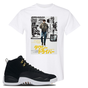 Japanese Poster White T-Shirt To Match Jordan 12 Reverse Taxi Sneakers