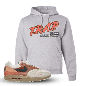 Air Max 1 Amsterdam City Pack Sneaker Ash Pullover Hoodie | Hoodie to match Nike Air Max 1 Amsterdam City Pack Shoes | Trap To Rise Above Poverty