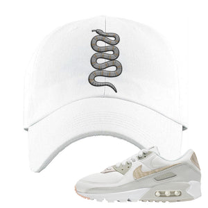 Air Max 90 Zebra Snakeskin Dad Hat | Coiled Snake, White