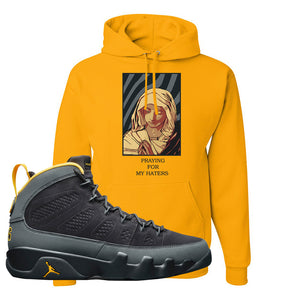Air Jordan 9 Charcoal University Gold Hoodie | God Told Me, Gold