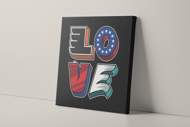 Love Philly Teams Canvas | Philadelphia Sports Teams Love Sign Black Wall Canvas this canvas has the love statue with every letter representing a Philly sports team