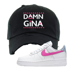 Air Force 1 Low Fire Pink Distressed Dad Hat | Black, Damn Gina