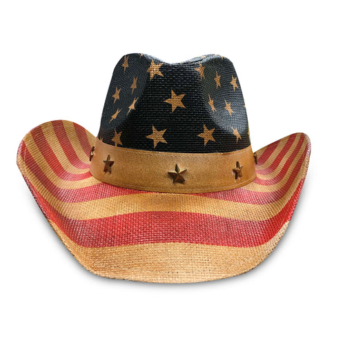 The American Flag print Cowboy hat features a vintage flag print on the crown and brim
