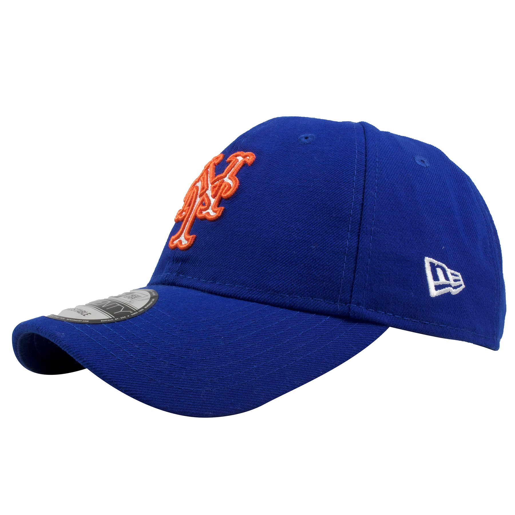 49a66f0f8e9 ... Embroidered on the left side of the New York Mets royal blue adjustable dad  hat is ...