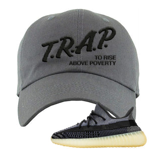 Yeezy Boost 350 V2 Asriel Carbon Dad Hat | Trap To Rise Above Poverty, Dark Gray