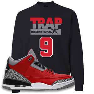 Jordan 3 Red Cement Crewneck Sweatshirt | Black, Trap International