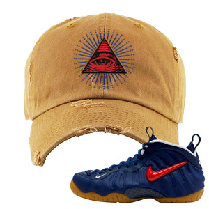 Air Foamposite Pro USA Distressed Dad Hat | Timber, All Seeing Eye